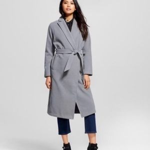 Who What Wear Gray Long Belted Jacket Sz L